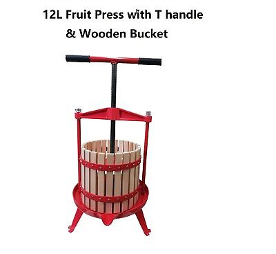12L Fruit Press with T Handle & Wooden Frame Bucket for Wine/Cider making  for sale  Shipping to United States