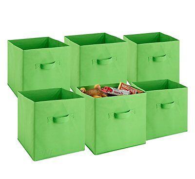 Foldable Cube Storage Bins - 6 Pack - (Green)