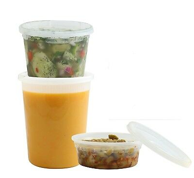 Clear Containers With Lids (Deli Food Storage Containers Clear Round Plastic Cups with Lids - Pack of)