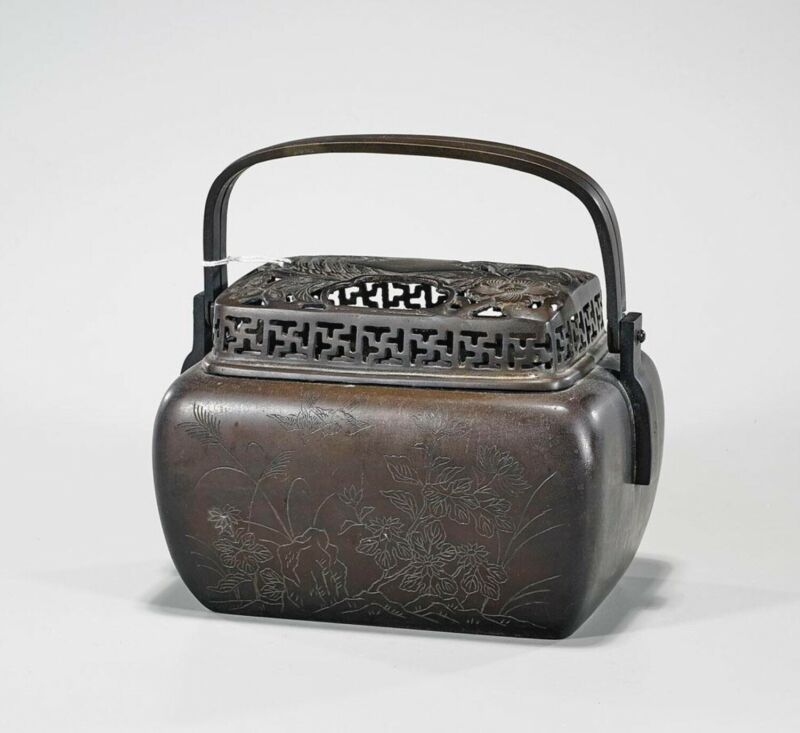 Antique Chinese Bronze Censer with Handle and Lid Hallmarked