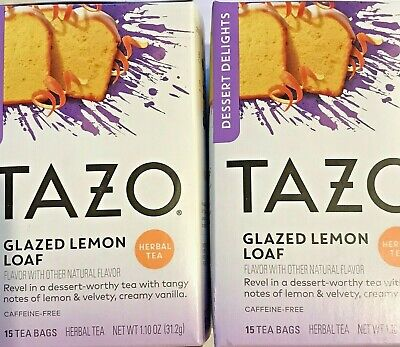 2 TAZO Glazed Lemon Loaf Herbal Tea Bags 2 boxes, each with 15 filterbags