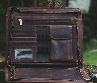 34cm Buffalo Leather Portfolio Case Brown Document Folder Large Folder Portfolio