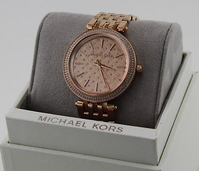 NEW AUTHENTIC MICHAEL KORS DARCI ROSE GOLD CRYSTALS WOMENS MK3399 WATCH