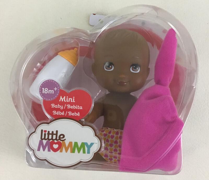 Little Mommy Mini Baby Doll AA Brown Ethnic Bottle Pink Blanket Toy 2018 Mattel