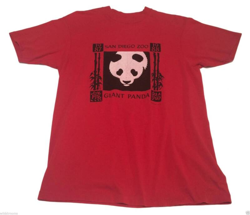 Vintage 80s (L) SAN DIEGO ZOO GIANT PANDA Red Hanes 50/50 Shirt Bamboo Chinese