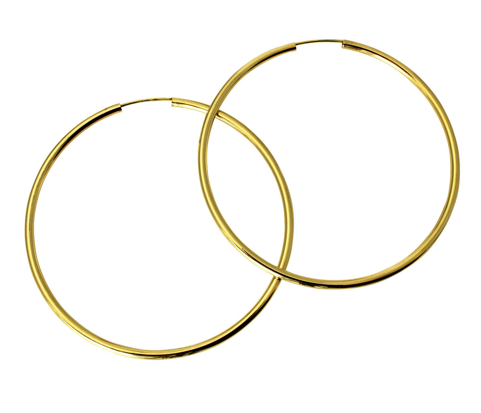 hoop earrings meaning 14k yellow gold 2mm thickness high polished large endless 5299