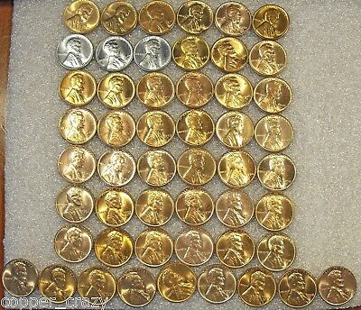 1941-1958 RED BU Lincoln Wheat Cent COMPLETE Wheat Set 51 Coins