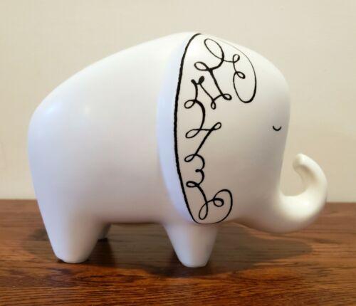 KATE SPADE New York LENOX Woodland Park Elephant Piggy Bank Change White Black