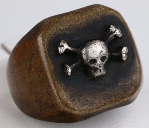 Memento Mori ww2 Bronze RING STERLING Silver SKULL & BONEs ww1 WWI or wwII RARE
