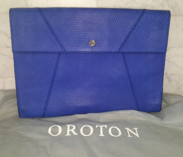 Blue OROTON Clutch Bag As New!! rrp $345