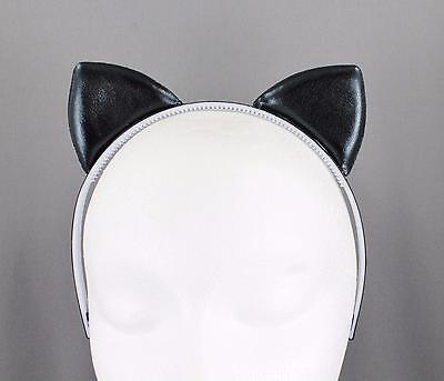 Black Cat Ears (Black shiny cat ears headband shine lamé kitten hair band cosplay cats)