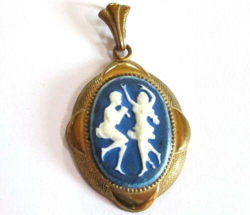 """ART NOUVEAU cameo FLUTE DANCERS gold tone blue white glass pendant 1.5"""" vintage"""