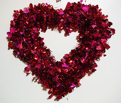 VALENTINES DAY PURPLE/RED HEART SHAPED TINSEL WREATH..VERY - Valentines Wreaths