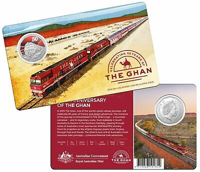 FREE POST- AUSTRALIA 2019 50 CENTS GHAN TRAIN COLOURED UNCIRCULATED COIN SOLDOUT - $36.50