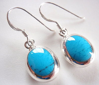(Reversible Blue Turquoise Cream Mother of Pearl Sterling Silver Oval Earrings)