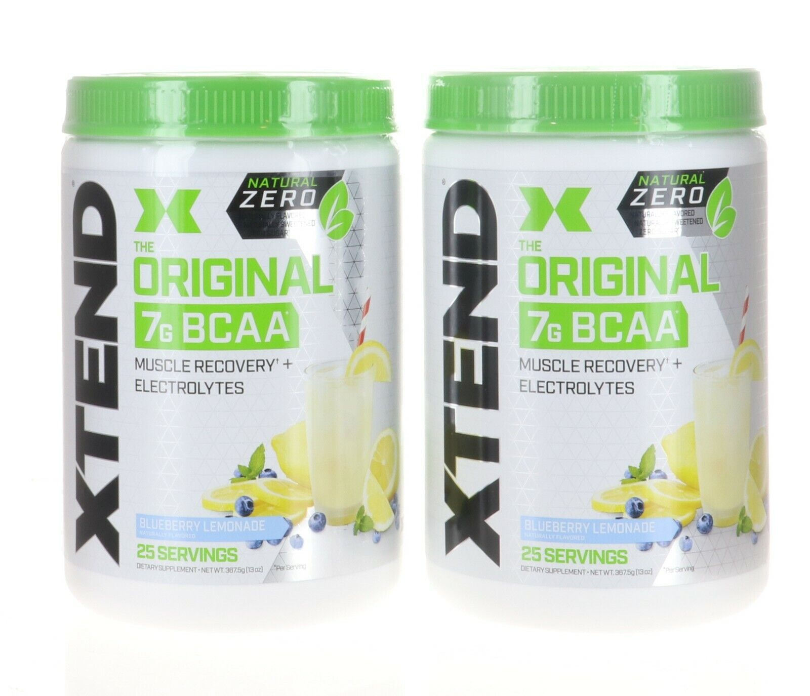 2 Pack Scivation XTEND Natural Zero 7G BCAA 25 Servings X 2 BLUEBERRY LEMONADE