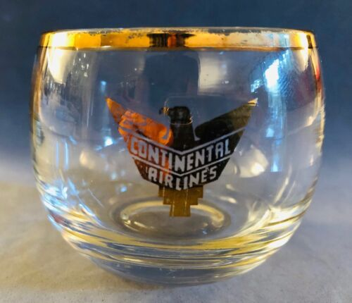 "Continental Airlines Juice Glass - 2.5"" x 2.25"" - Golden Eagle pre-1955"