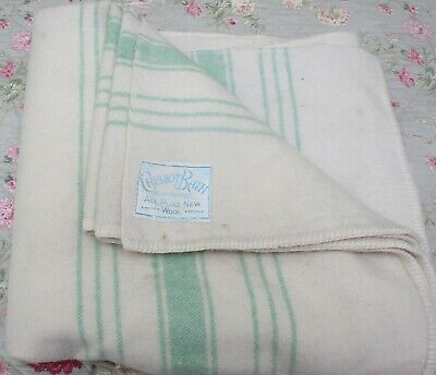 Vintage  Blanket 100% wool Cream with green stripes  1940s 1950s  (DE207)