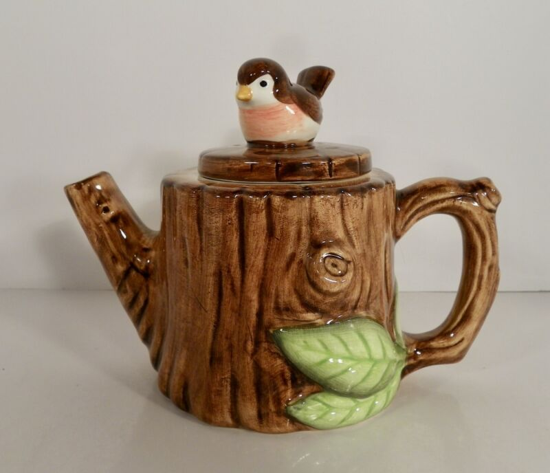 Danbury Mint Pots of Fun Whimsical Teapot TREE POT with Robin Bird Finial
