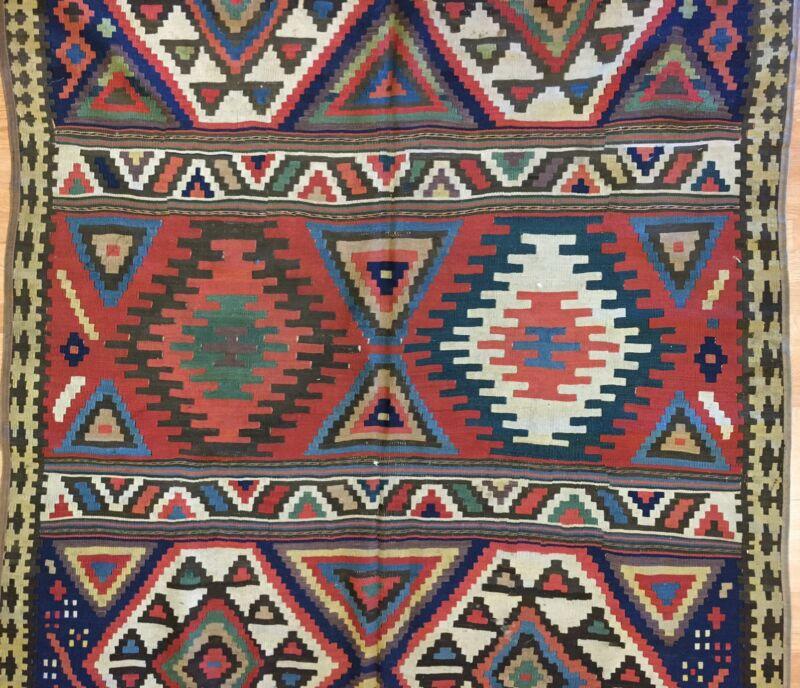 Special Shahsavan - 1880s Antique Caucasian Kilim - Flatweave Rug 5.7 X 10.8 Ft.