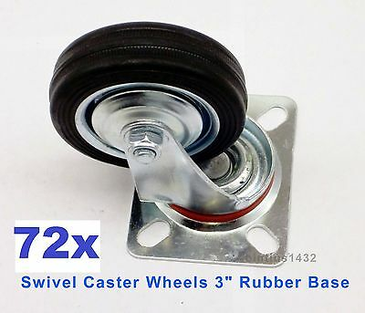 Lot Of 72 Heavy Duty Swivel Caster Wheels 3 Rubber Base With Top Plate Bearing