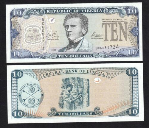 Liberia 10 Dollars (2003) P27a - UNC