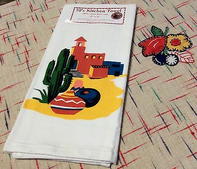 Retro Vintage Style Cotton Flour Sack 50's Kitchen Towels with Adobe