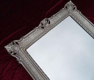 Miroir mural argent vieilli antique baroque rococo 90x70 for Miroir 90x70