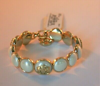 Ralph Lauren gold tone logo and white faux pearl stretch bracelet