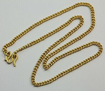 24K Solid Yellow Gold Cuban Link Chain Necklace 22.5 Grams