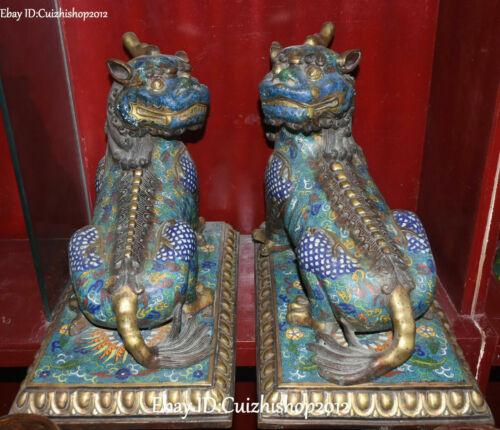 Old Cloisonne Enamel Gilt Unicorn Dragon Pixiu Feng Shui beast animal statues