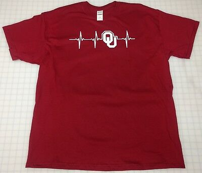 Oklahoma University Sooners Heartbeat Tee Shirt T Shirt Mens Womens Free Ship