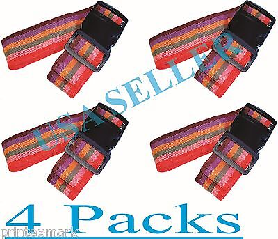 Travel Luggage Suitcase Strap 4 Pcs.Rainbow Color Belt Baggage Backpack Bag New