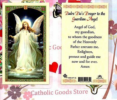 Saint St. Pio's prayer to the Guardian Angel - Laminated  Holy Card