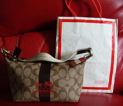 "Coach leatherware logo handbag  9""X5""X4"" clean with bag"