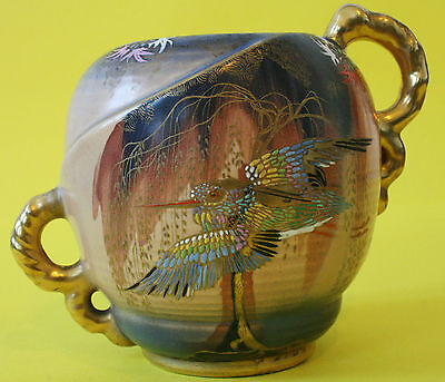 Carlton Ware Sketching Bird Offset Handled Art Deco Vase