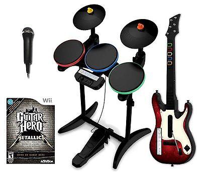 NEW Wii/Wii-U Metallica Guitar Hero Band Set w/Drums/Guitar/Game bundle nintendo