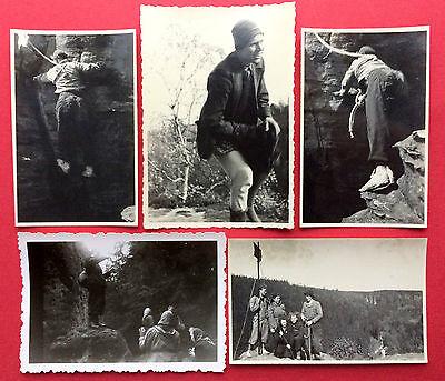 5 x Foto Sächsische Schweiz Kletterei Bergsteiger an Heringstein  1955   ( 8493