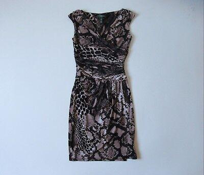 LAUREN Ralph Lauren V-Neck Snakeskin Python Print Ruched Jersey Sheath Dress 2