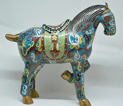 Antique Chinese Cloisonne Enamel Horse Figurine ~ 8.5''  Tall