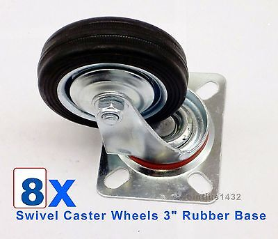 Lot Of 8 Heavy Duty Swivel Caster Wheels 3 Rubber Base With Top Plate Bearing