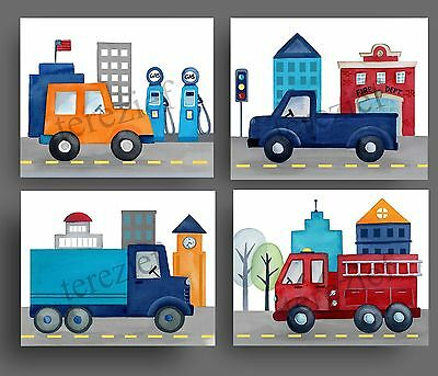 things that go art prints for bedding car truck BABY BOY NURSERY wall decor for sale  Shipping to Canada