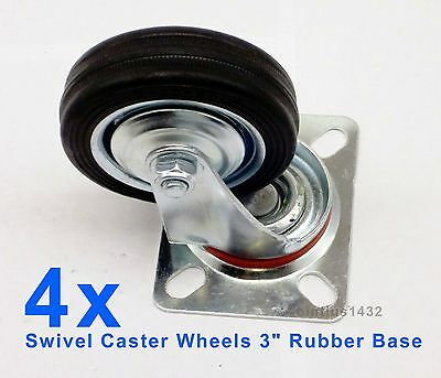 Lot Of 4 Heavy Duty Swivel Caster Wheels 3 Rubber Base With Top Plate Bearing