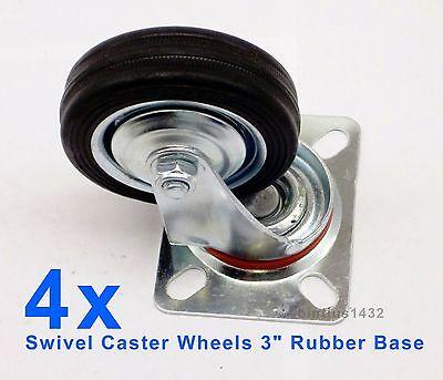 Lot Of 4 Heavy Duty Swivel Caster Wheels 3 Rubber Base With Top Plate Bearing