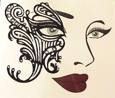 EYE LACE FACE ART DECAL HALLOWEEN COSTUME MAKEUP TATTOO ACCESSORY - Halloween Makeup Black Eyes