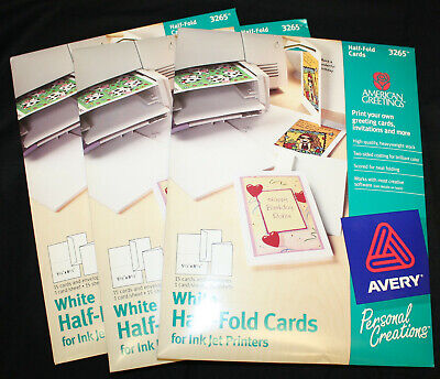 Lot Of 3 Avery 3265 Greeting Cards Inkjet 5-12 X 8-12 Half-fold Cards