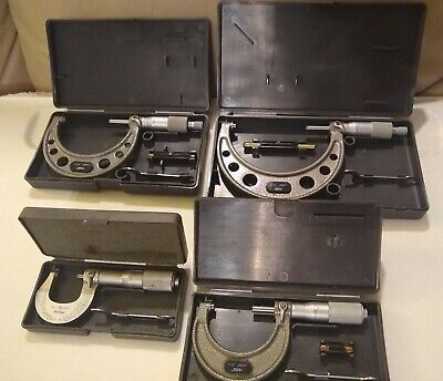 4 Outside Micrometers In Cases - Mitutoyo 0-1 Spi 1-2 Spi 2-3 Spi 3-4