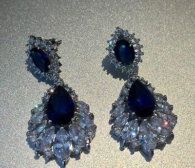 18k White Gold Earrings made w/ Swarovski Crystal Sapphire Blue & Marquise Stone