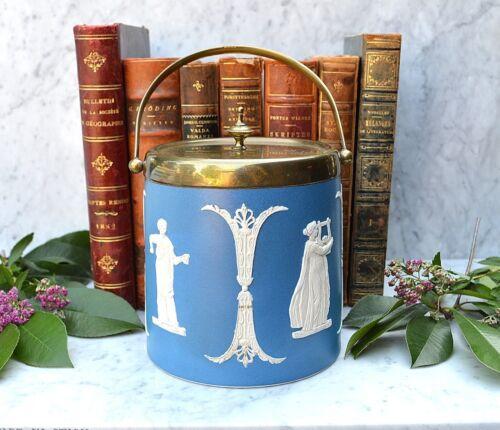 Rare Antique Dudson England Blue Dip Jasperware Biscuit Barrel Classical Figures