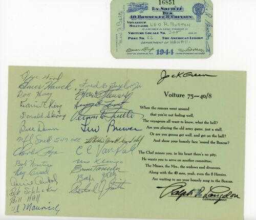WWI US 40/8 Well Wishes and Membership Cards, Hawaii?! 33rd Division